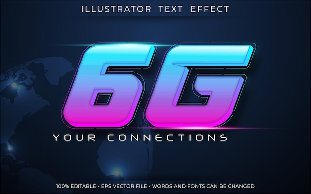 Effet de texte néon 6g, style de texte modifiable en trois dimensions