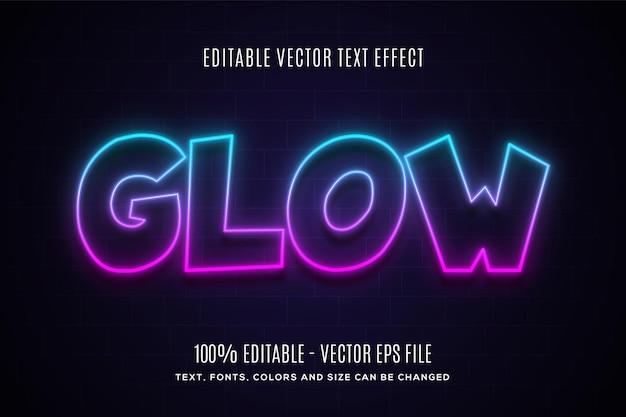 Effet de texte neon glow modifiable facile à modifier ou à modifier