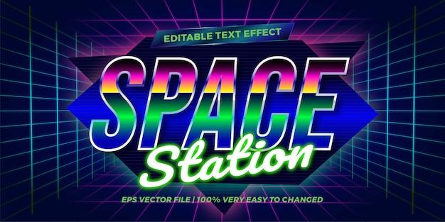 Effet de texte en néon station rétro mots texte effet thème modifiable rétro années 80 concept