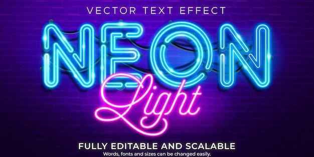 Effet de texte néon, style de texte rétro et lumineux modifiable