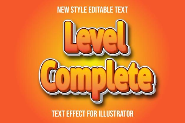 Effet de texte niveau 3d couleur complète dégradé orange et blanc