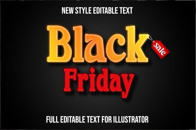 Effet de texte noir vendredi couleur dégradé jaune et rouge