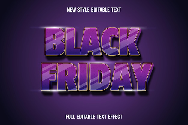 Effet de texte noir vendredi couleur violet et or