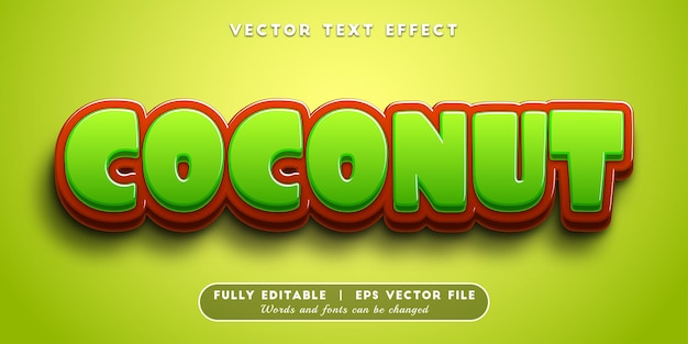 Effet de texte de noix de coco avec style de texte modifiable