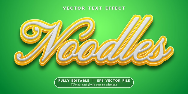 Effet de texte de nouilles, style de texte modifiable