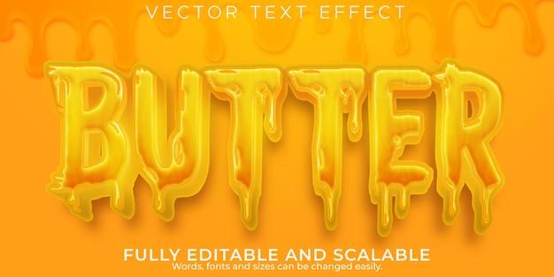 Effet de texte de nourriture au beurre, style de texte crémeux et organique modifiable
