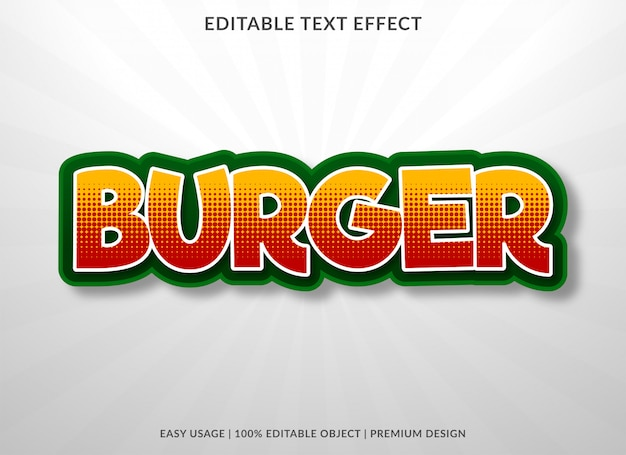 Effet de texte de nourriture burger