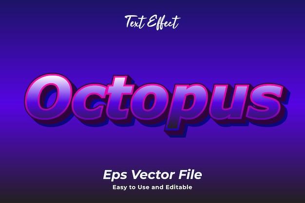 Effet de texte octopus modifiable et facile à utiliser vecteur premium