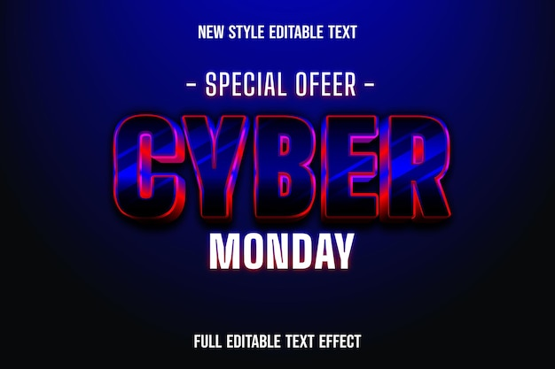 Effet de texte offre spéciale 3d cyber lundi couleur noir et rouge noir