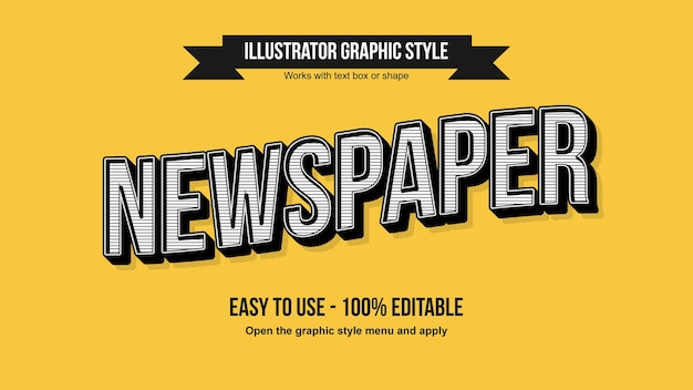 Effet de texte ondulé de titre de journal vintage noir et blanc