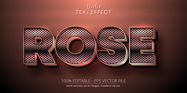 Effet de texte en or rose, style alphabet or rose brillant