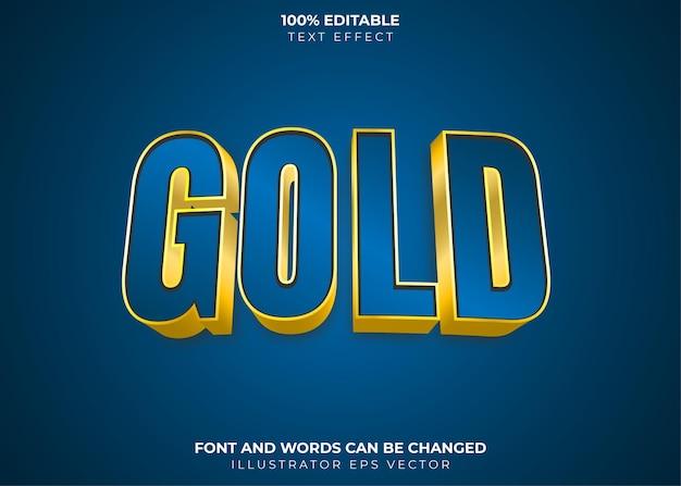 Effet de texte en or thème or et bleu brillant entièrement modifiable
