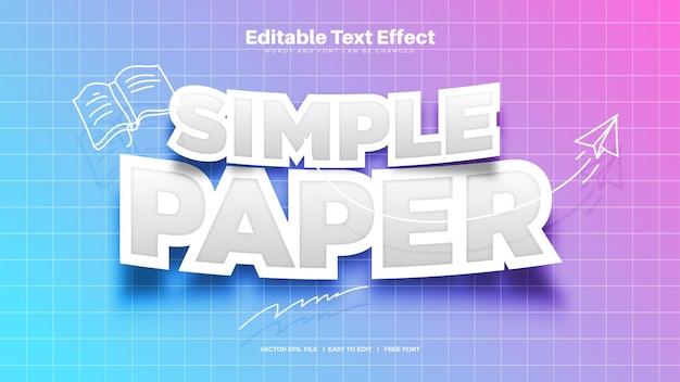 Effet de texte de papier simple