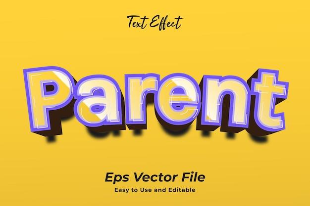 Effet de texte parent vecteur premium facile à utiliser et modifiable
