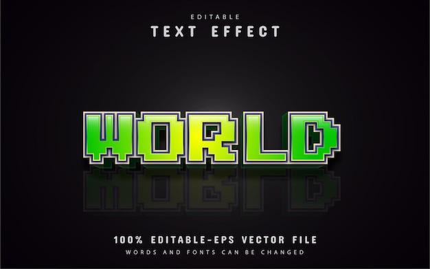 Effet de texte de pixel du monde