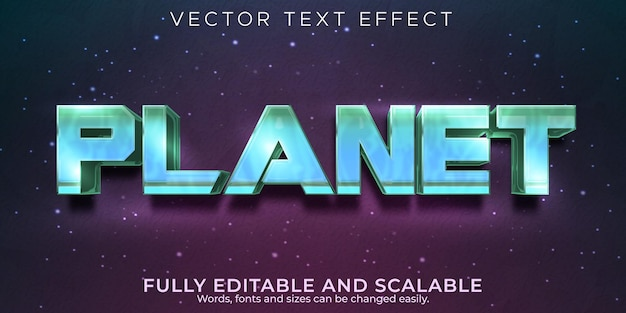Effet de texte planet galaxy, style de texte modifiable pour l'esport et le joueur