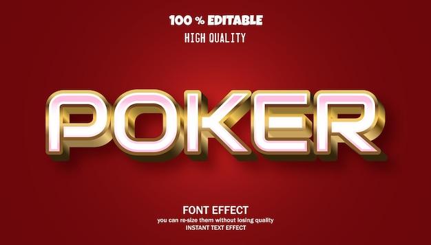 Effet de texte de poker, style graphique rétro moderne