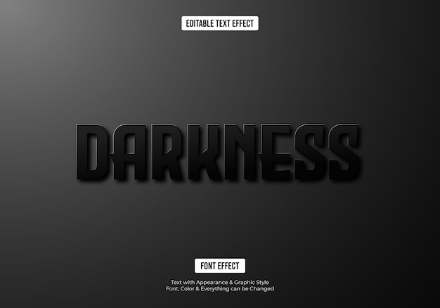 Effet de texte de police 3d sombre et noir