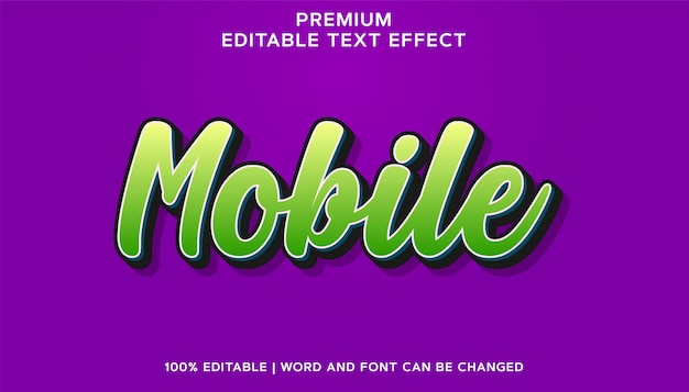 Effet de texte de police modifiable vert mobile premium