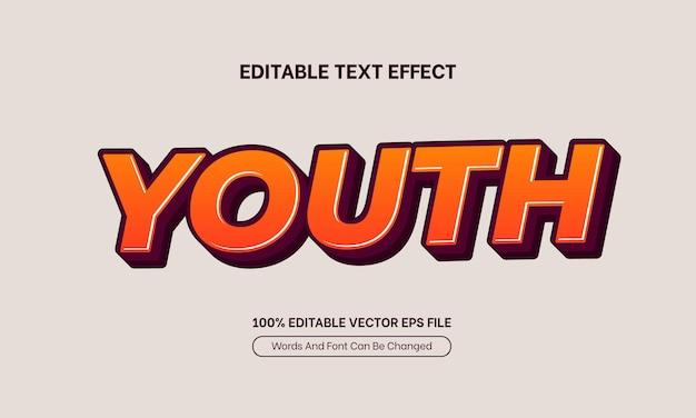 Effet de texte de police modifiable vintage minimaliste propre à la jeunesse orange
