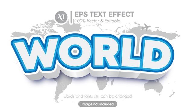 Effet de texte de police de style de voyage du monde 3d