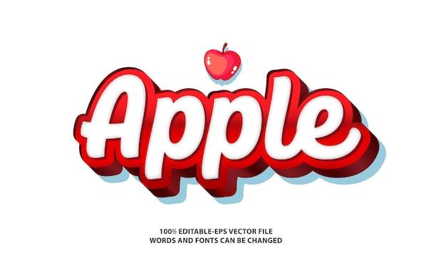 Effet de texte de pomme avec icône de fruit de pomme
