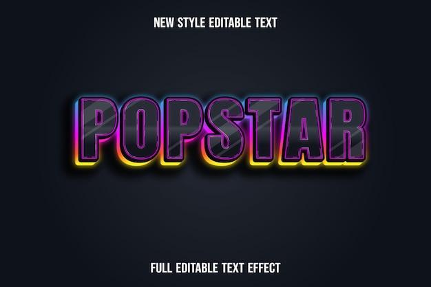 Effet de texte pop star couleur noir bleu rose et jaune