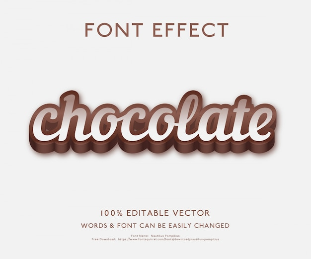 Effet de texte pour le chocolat avec un style 3d audacieux vecteur premium