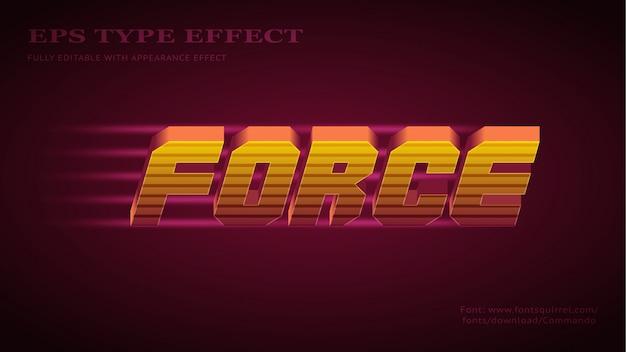 Effet de texte pour la force avec un style audacieux 3d futuriste cool
