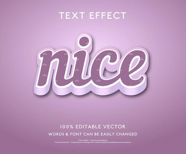 Effet de texte pour nice avec un style 3d audacieux vecteur premium