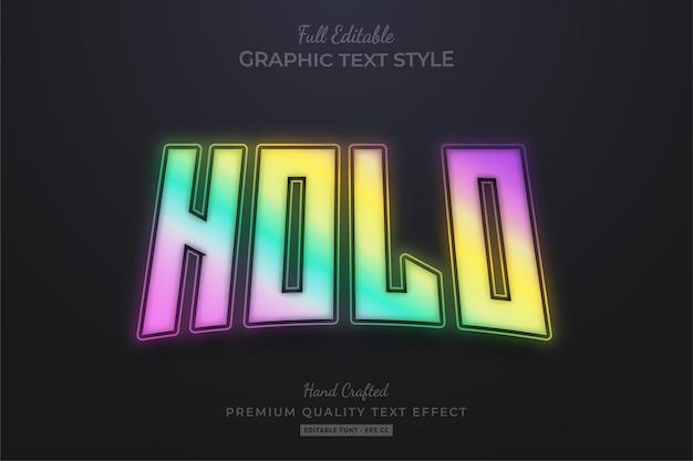 Effet de texte premium modifiable dégradé holographique