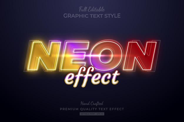 Effet de texte premium modifiable à effet dégradé néon
