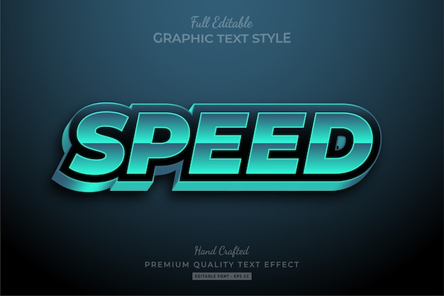 Effet de texte premium modifiable speed racing turquoise