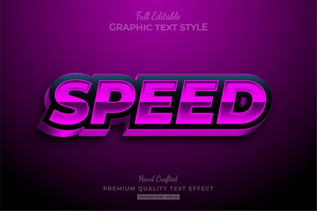 Effet de texte premium modifiable speed racing