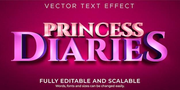 Effet de texte princesse métallique, style de texte brillant et mignon modifiable