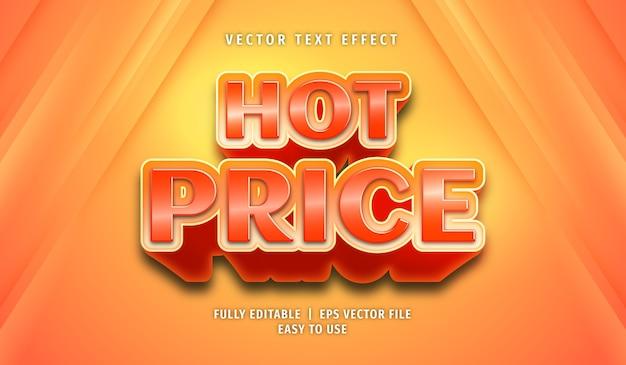 Effet de texte de prix chaud, style de texte modifiable