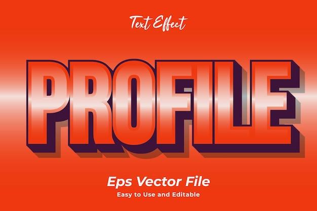 Effet de texte profil modifiable et facile à utiliser vecteur premium