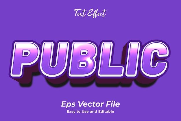 Effet de texte public modifiable et facile à utiliser vecteur premium