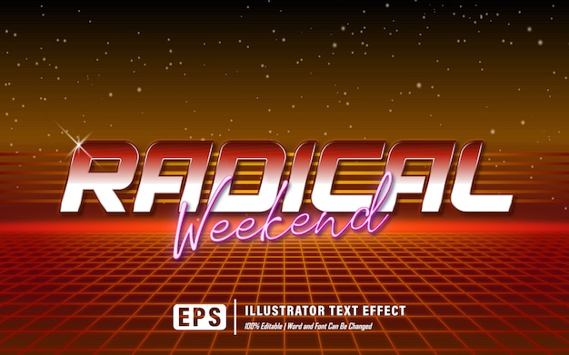 Effet de texte radical week-end - modifiable
