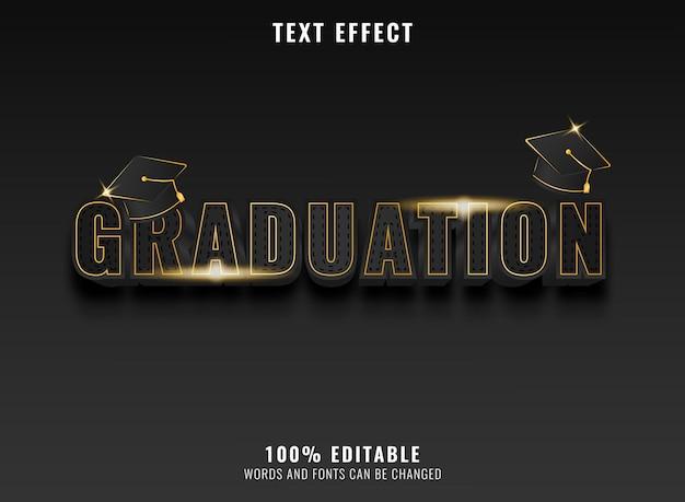 Effet de texte de remise des diplômes de luxe doré moderne avec capuchon