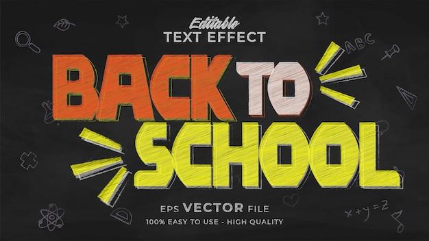 Effet de texte de retour à l'école style de texte de tableau modifiable
