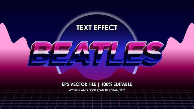 Effet de texte rétro beatles coloré modifiable