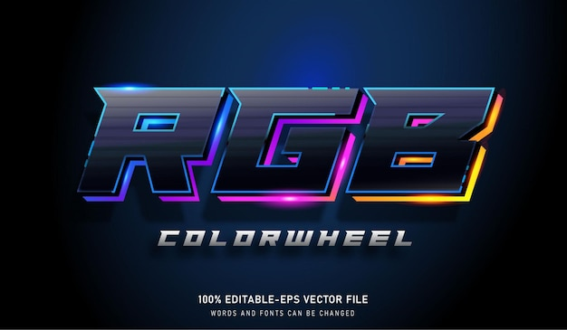 Effet de texte de roue de couleur rvb et police modifiable pour les jeux