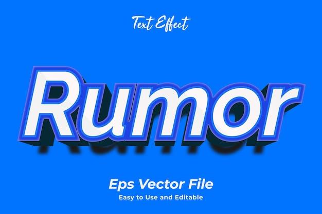 Effet de texte rumeur simple à utiliser et à modifier vecteur de haute qualité