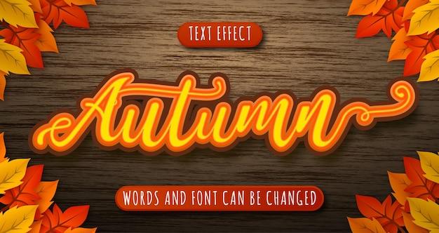 Effet de texte de saison d'automne isolé sur bois et laisse modifiable eps cc