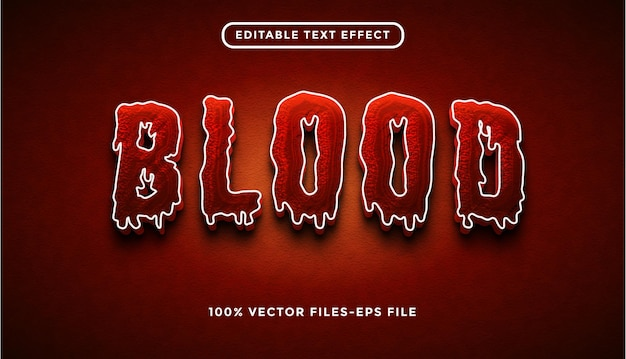 Effet de texte de sang vecteur premium