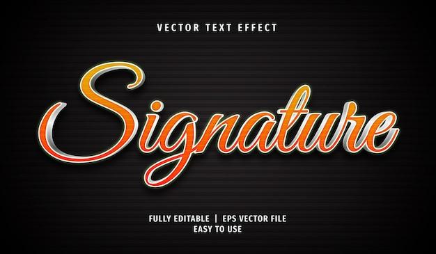 Effet de texte de signature 3d, style de texte modifiable
