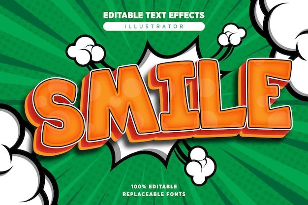 Effet de texte de sourire modifiable dans le style comique