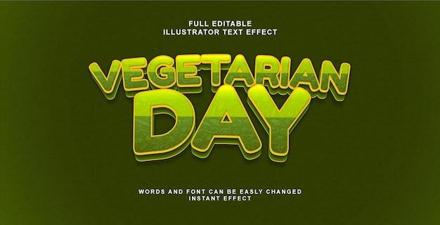 Effet de texte spécial jour végétarien avec motif végétal