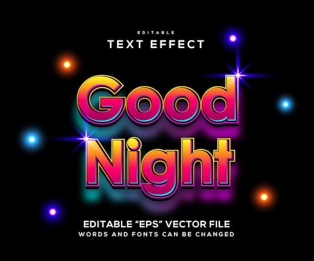 Bonne Nuit Typographie Dessinee A La Main Vecteur Premium